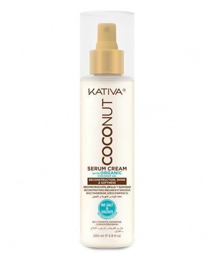 Kativa COCONUT Восстанавливающая крем-сыворотка с  кокосовым маслом для поврежденных волос 200мл