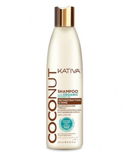 Kativa COCONUT Восстанавливающий безсульфатный шампунь с органическим кокосовым маслом для поврежденных волос, 250мл