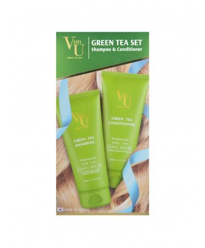 """Набор подарочный для роста волос с зеленым чаем """"Green Tea"""" Шампунь 200 мл + Кондиционер 200 мл, Von-U Limoni"""