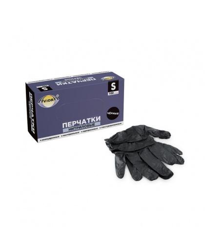 Перчатки нитриловые черные неопудренные нестерильные  Aviora 100 штук, размер S