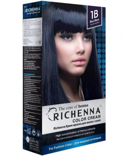 Крем-краска Richenna для волос с хной 1B (Blue Black)
