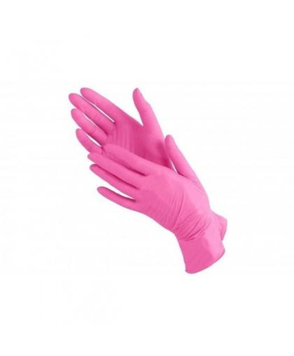 Перчатки нитриловые AVIORA розовые неопудренные нестерильные, 100 штук, размер XS