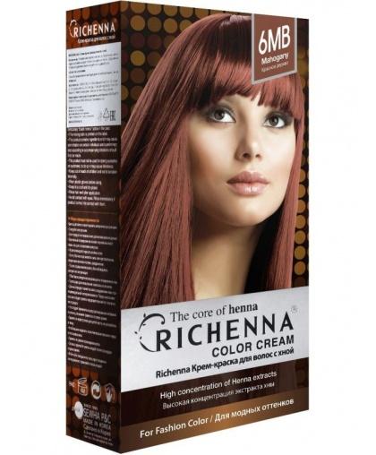 Крем-краска Richenna для волос с хной 6MB (Mahogany)