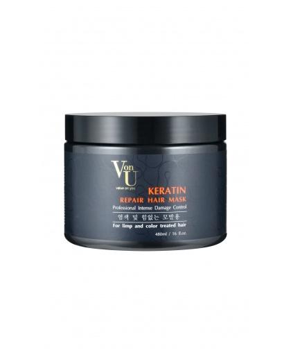 Маска-реконструктор с кератином KERATIN Repair Hair Mask 480 мл, Von-U Limoni