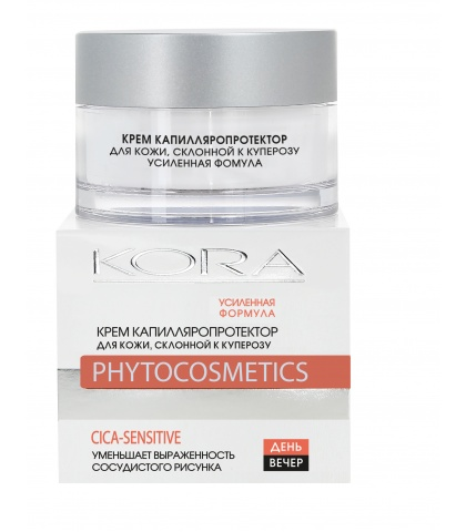 Крем для лица KORA капилляропротектор для кожи, склонной к куперозу, усиленная формула, 50 мл