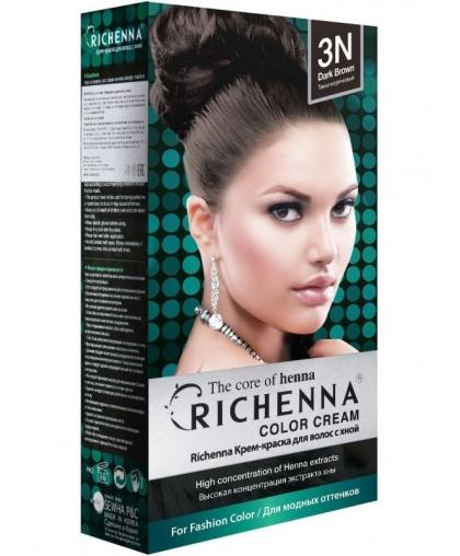 Крем-краска Richenna для волос с хной 3N (Dark Brown)