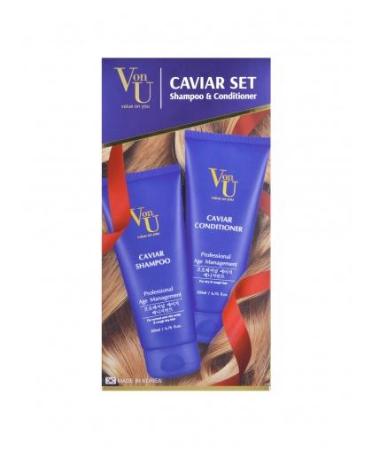 """Набор подарочный для роста волос с икрой """"Caviar Set"""" Шампунь 200 мл + Кондиционер 200 мл, Von-U Limoni"""