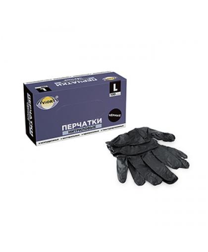 Перчатки нитриловые черные неопудренные нестерильные Aviora 100 штук, размер L