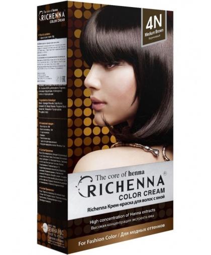 Крем-краска Richenna для волос с хной 4N (Brown)