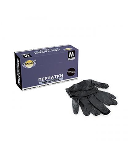 Перчатки нитриловые черные неопудренные нестерильные  Aviora 100 штук, размер М