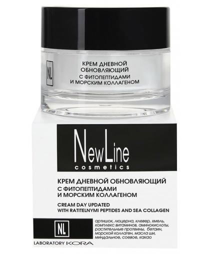 NewLine Крем дневной обновляющий с фитопептидами и морским коллагеном для лица, 50 мл