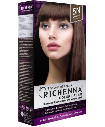 Крем-краска Richenna для волос с хной 5N (Chestnut)