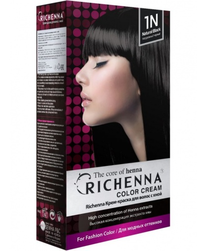 Крем-краска Richenna для волос с хной 1N (Natural Black)