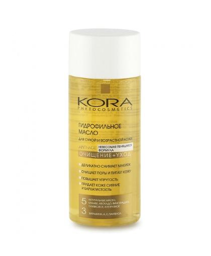 Гидрофильное масло для сухой и возрастной кожи лица KORA. Очищение + Уход 150 мл.
