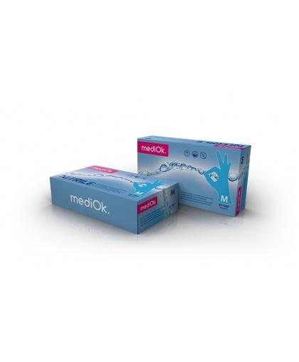 Нитриловые неопудренные перчатки mediOk черничные размер S, 100 штук