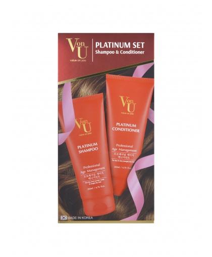 """Набор подарочный для роста волос с Платиной """"Platinum"""" Шампунь 200 мл + Кондиционер 200 мл, Von-U Limoni"""