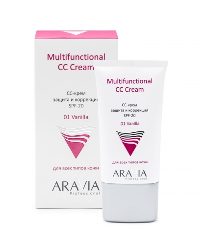 СС-крем защитный SPF-20 Multifunctional CC Cream, Vanilla 01, 50 мл, ARAVIA Professional