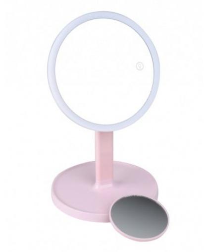 Косметическое зеркало Gezatone 1x/7x со светодиодной подсветкой LM208 (розовое)