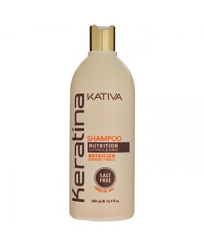 KERATINA Укрепляющий шампунь с кератином для всех типов волос 500мл Kativa