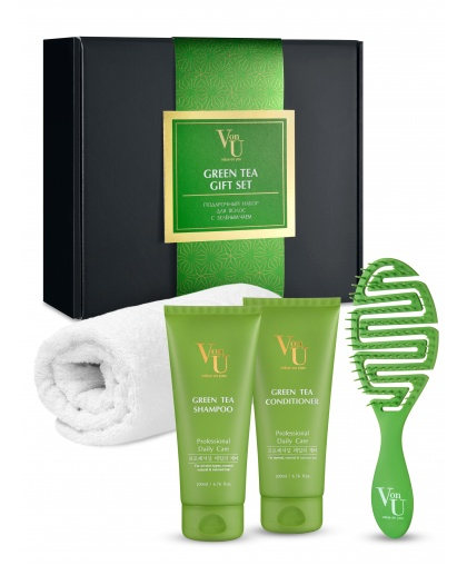"""Набор подарочный для роста волос с зеленым чаем """"Green Tea"""" Шампунь 200 мл + Кондиционер 200 мл + Расческа+ Полотенце, Von-U Limoni"""