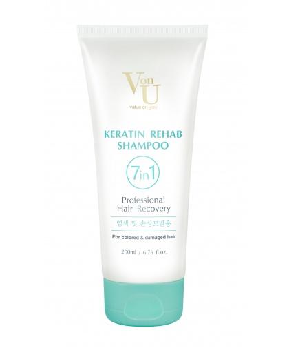 Шампунь для волос с кератином Keratin Rehab 200 мл, Von-U Limoni