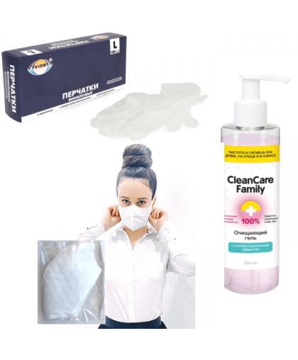 Набор первой необходимости (маски, перчатки, антисептик). Размер S