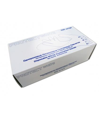 Нитриловые перчатки Protect белые, размер М, 100шт/уп