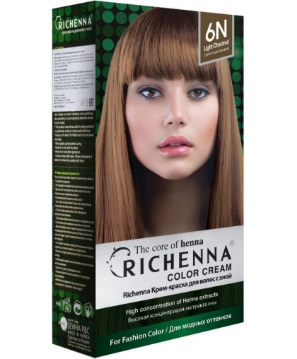 Крем-краска Richenna для волос с хной 6N (Light Chestnut)