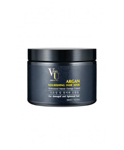 Маска для волос питательная с аргановым маслом ARGAN Nourishing Hair Mask 480 мл, Von-U Limoni