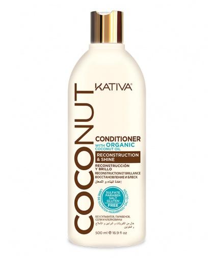 Кондиционер для волос Kativa COCONUT восстанавливающий с органическим кокосовым маслом для поврежденных волос, 500мл