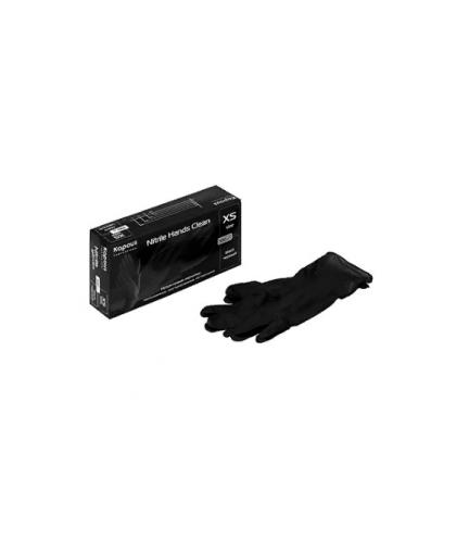 Нитриловые перчатки неопудренные, текстурированные, нестерильные «Nitrile Hands Clean», черные, 100 шт., XS, Kapous