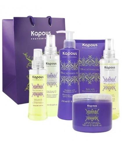 Набор для обертывания волос с маслом ореха макадамии Kapous «Macadamia Oil»