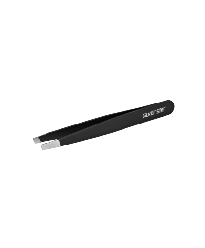 Пинцет для бровей Silver Star скошенный черный AT 9934 LE ROSE
