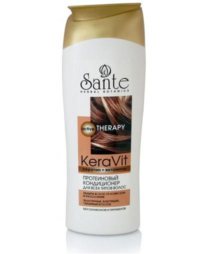 Протеиновый кондиционер для всех типов волос Sante Keravit, 400 мл