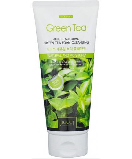 JIGOTT Natural Очищающая пенка с экстрактом зеленого чая 180 мл